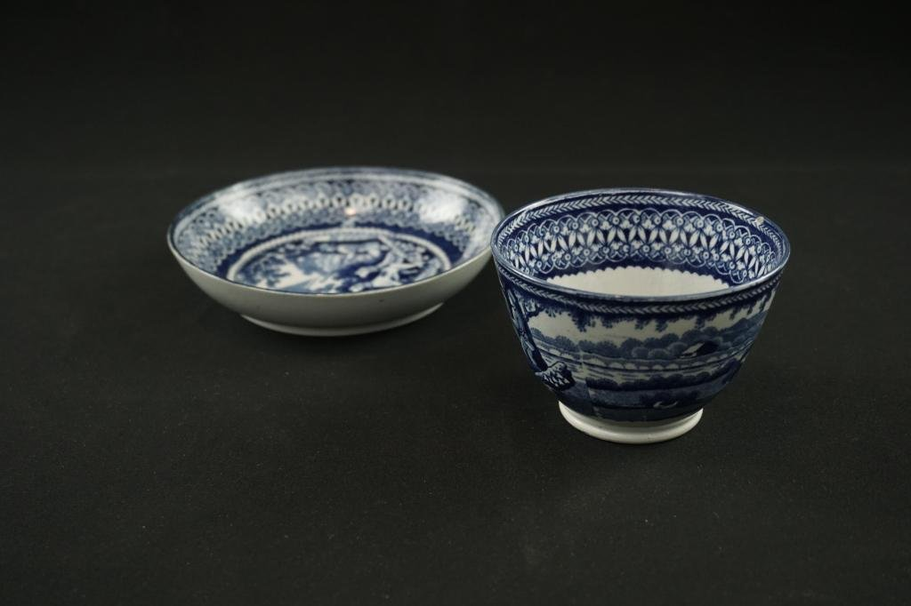 19th Cenutry Staffordshire Cup & Saucer 19th c. blue