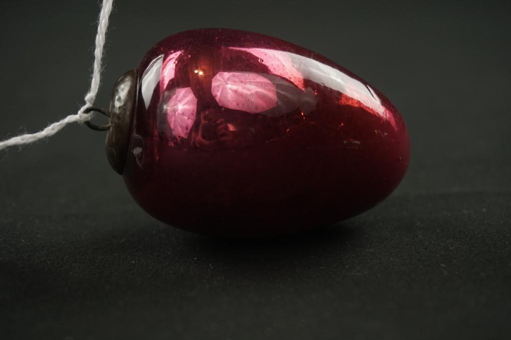 German Kugel Red Egg Ornament Antique German red glass