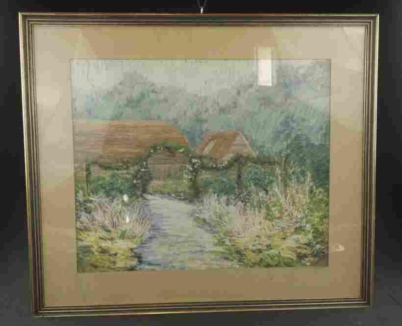 Berks County Pastel Chalk Drawing Vintage pastel on