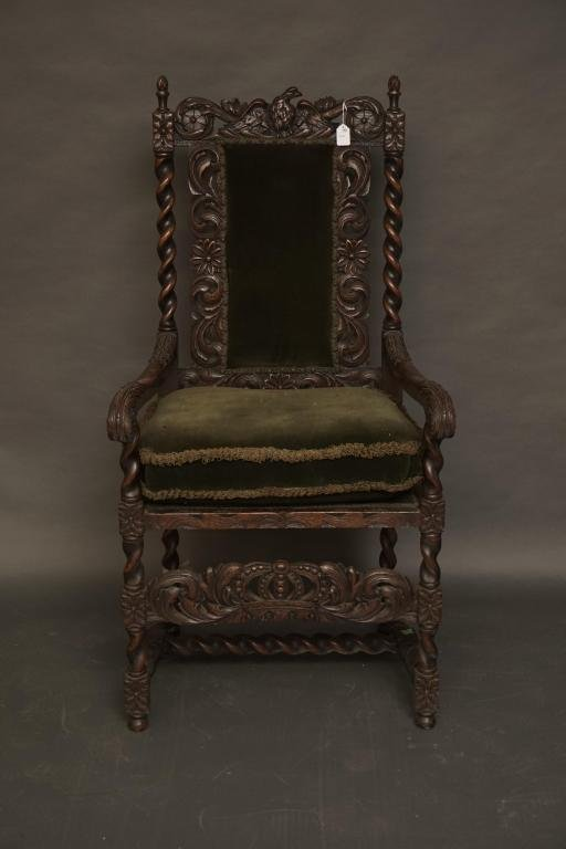 1664 Carved Jacobean Arm Chair Exceptional dated 1664