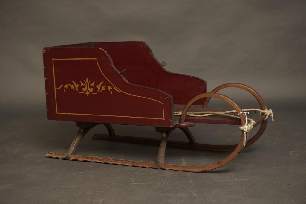 19th Century Child's Sleigh 19th c. paint decorated and