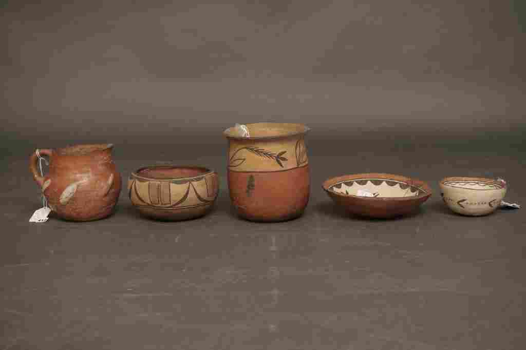 Native American Potttery Lot of 5 Native American