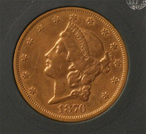 1876 $20 Gold Eagle Liberty.