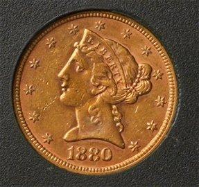 1880 $5 Gold Liberty Eagle.