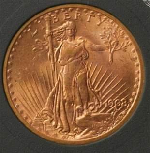 1908 20 Gold Double Eagle
