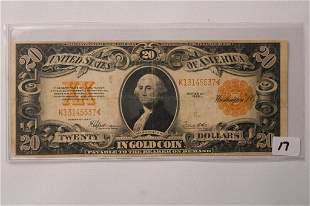 1922 20 Washington Gold Certificate