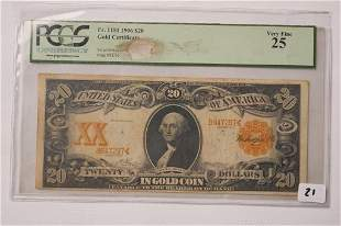 1906 20 Gold Certificate Gold Seal