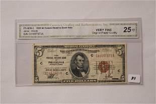 1929 5 Philadelphia Bank Note