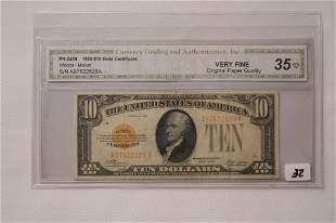 1928 10 Gold Certificate