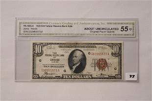 1929 10 Chicago Bank Note