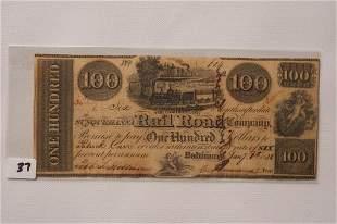 1838 100 Railroad Company Bank Note