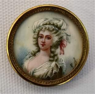 18th c Signed American Miniature Portrait