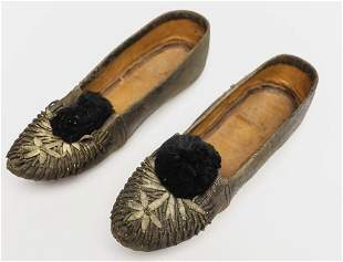 19th C Childs Leather Slippers