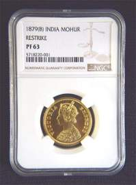 1879 India One Mohur Restirke Gold Coin.