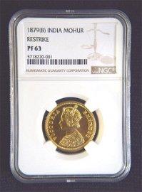 1879 India One Mohur Restirke Gold Coin.