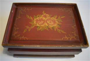 Vintage Lacquer Painted Wooden Box