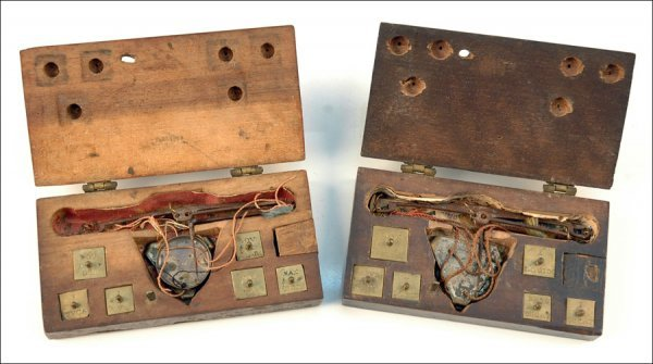 115: TWO CASED COIN BALANCES, GERMANY, 18TH CENTURY.