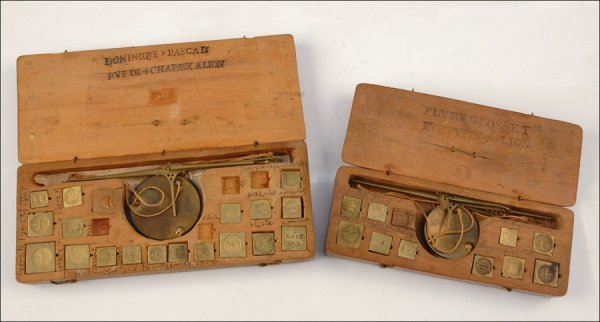 117: TWO CASED COIN BALANCES, LYON, FRANCE, LATE 18TH/E