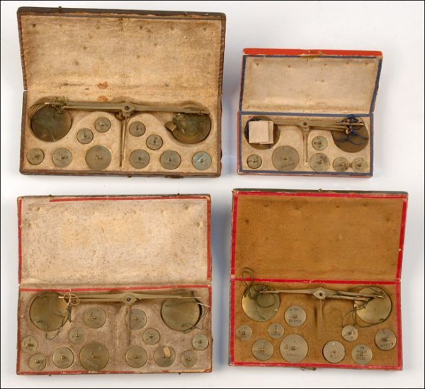 122: FOUR CASED EUROPEAN COIN BALANCES, MID-19TH CENTUR
