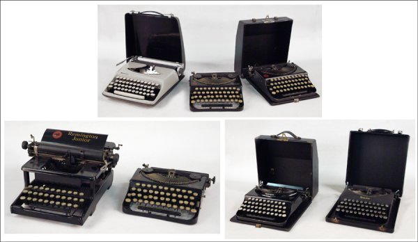 258: FIVE REMINGTON PORTABLE TYPEWRITERS.