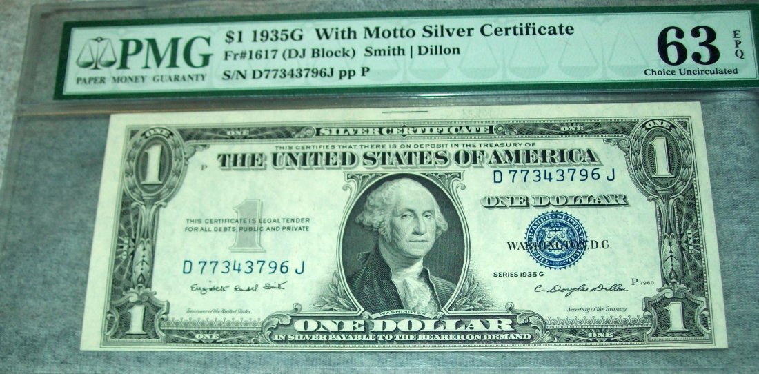 $1 1935G With Motto Silver Certificate PMG 63