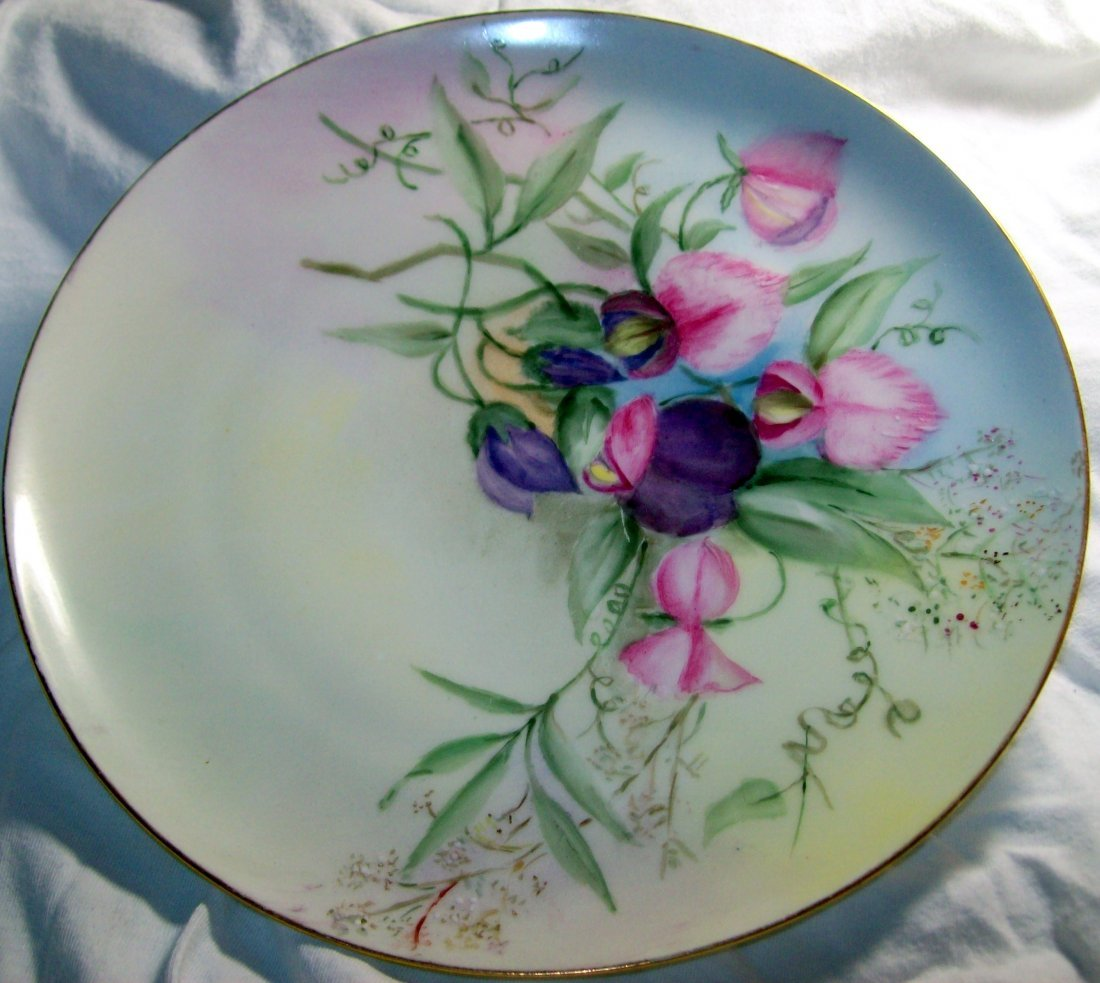 Haviland France Purple and Pink Flowers  8.5 inch Plate