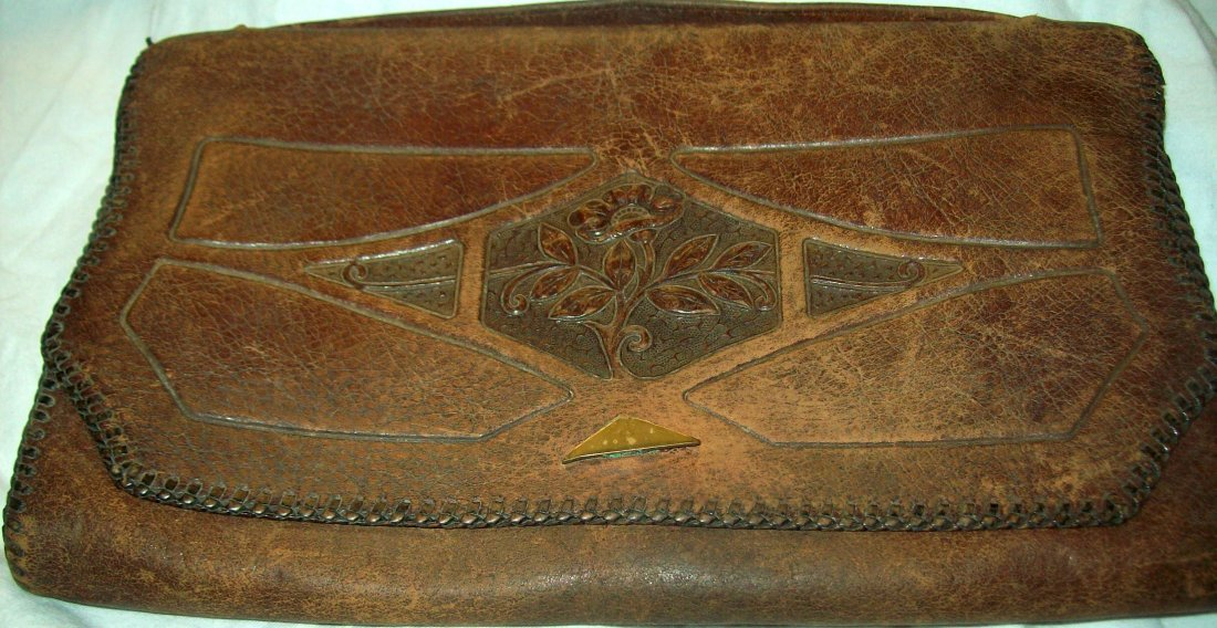 Vintage AMITY Leather Tooled Purse