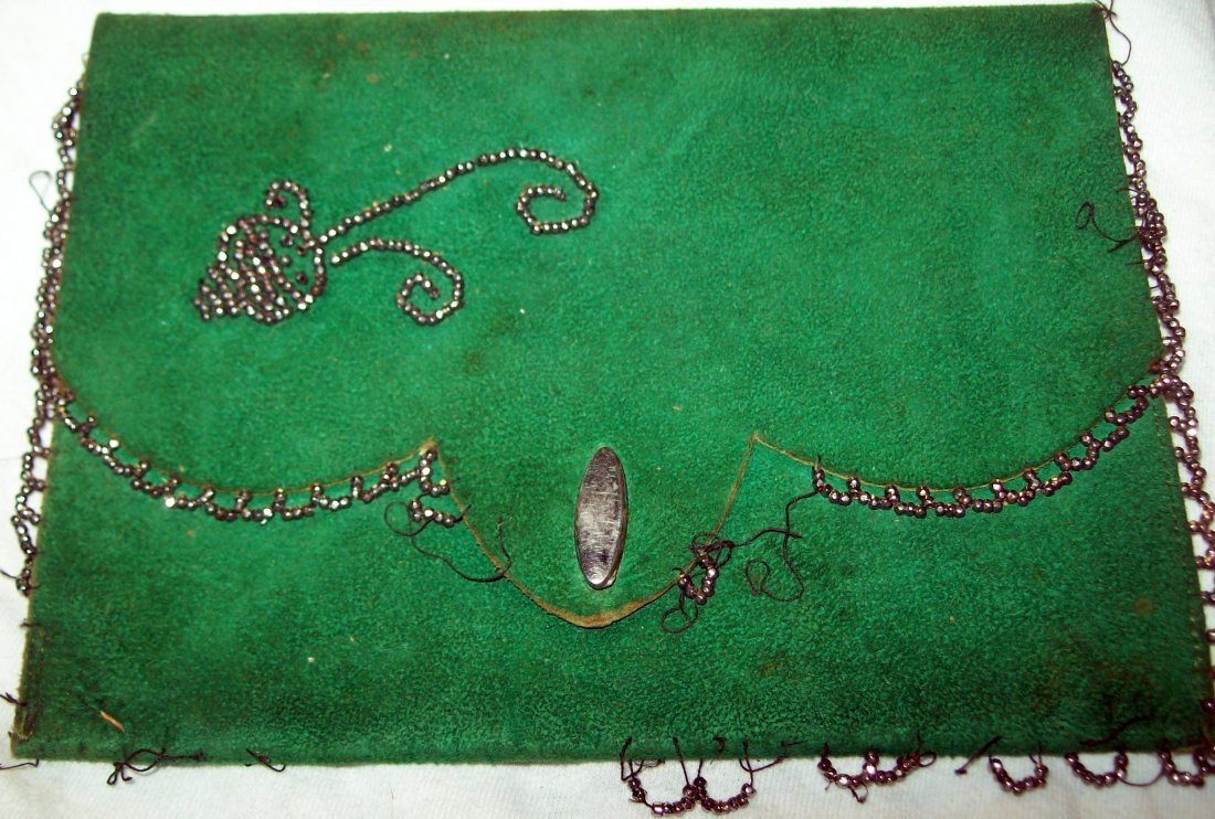 Vintage Green Leather Beaded Clutch Purse