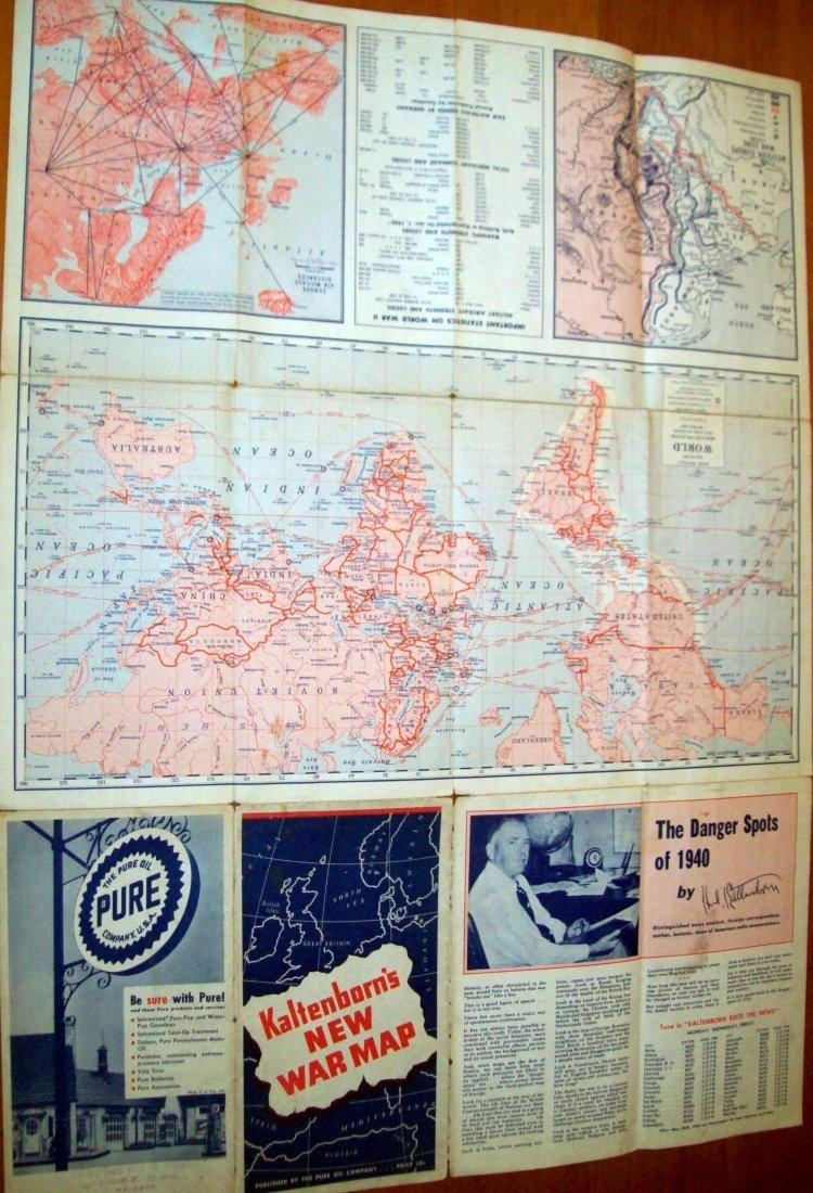 Kaltenborn's NEW WAR MAP (WW II) 1940 PURE OIL COMPANY