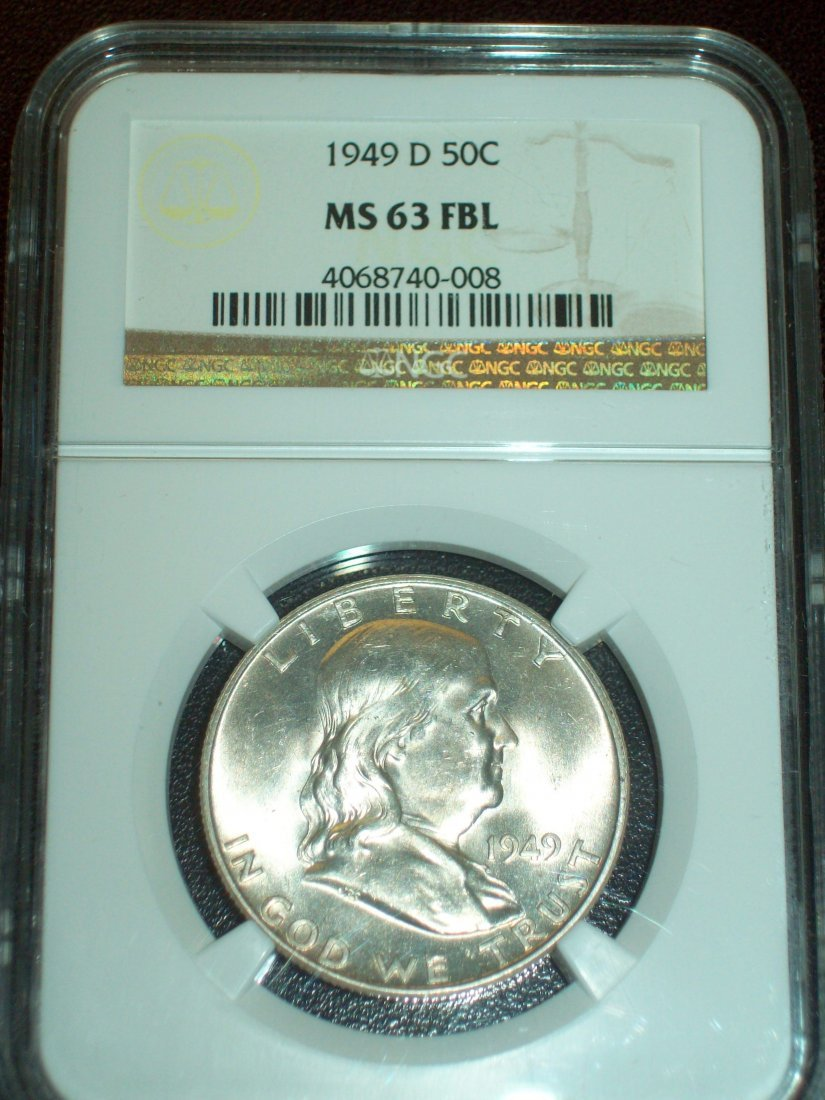 1949-D 50C Franklin Half Dollar NGC MS63 FBL