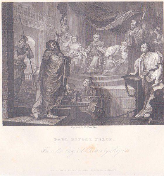 William HOGARTH Steel Engraving PAUL BEFORE FELIX 1860s