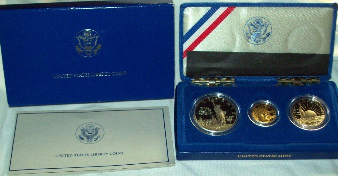 1986 Liberty Three Coin Proof Set Gold Silver Box COA