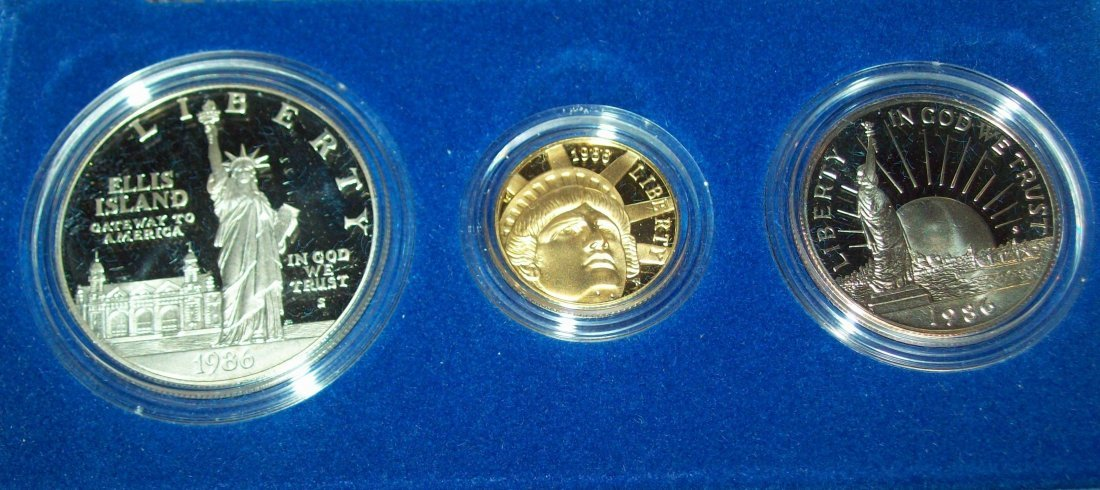 1986 Liberty Three Coin Proof Set Gold Silver Box COA - 2