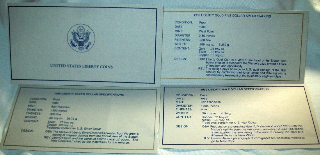 1986 Liberty Three Coin Proof Set Gold Silver Box COA - 3