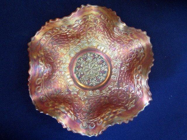 Fenton Leaf Chain Marigold 7 in Electric Ruffled Bowl