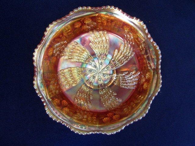 Fenton Fantail Marigold 9 inch Ball Footed Bowl