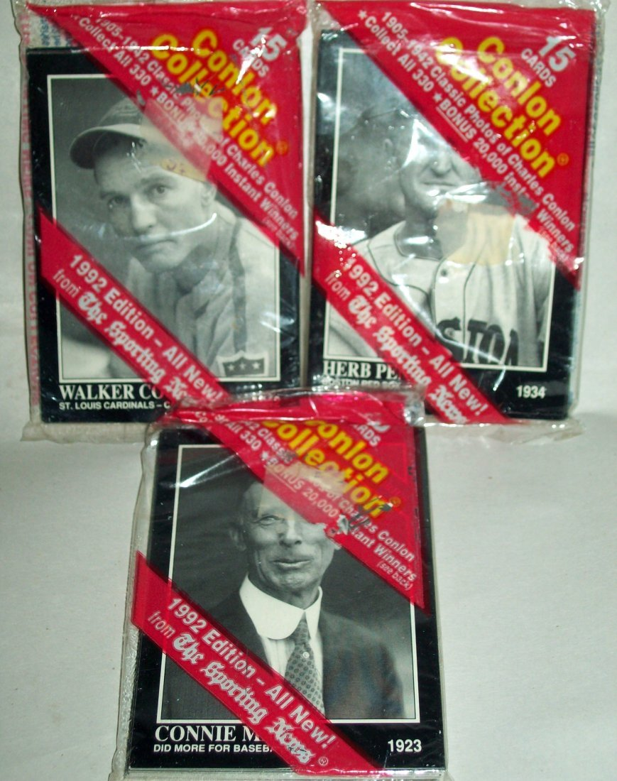 1992 Conlon Collection Sporting News 3 Packs Sealed