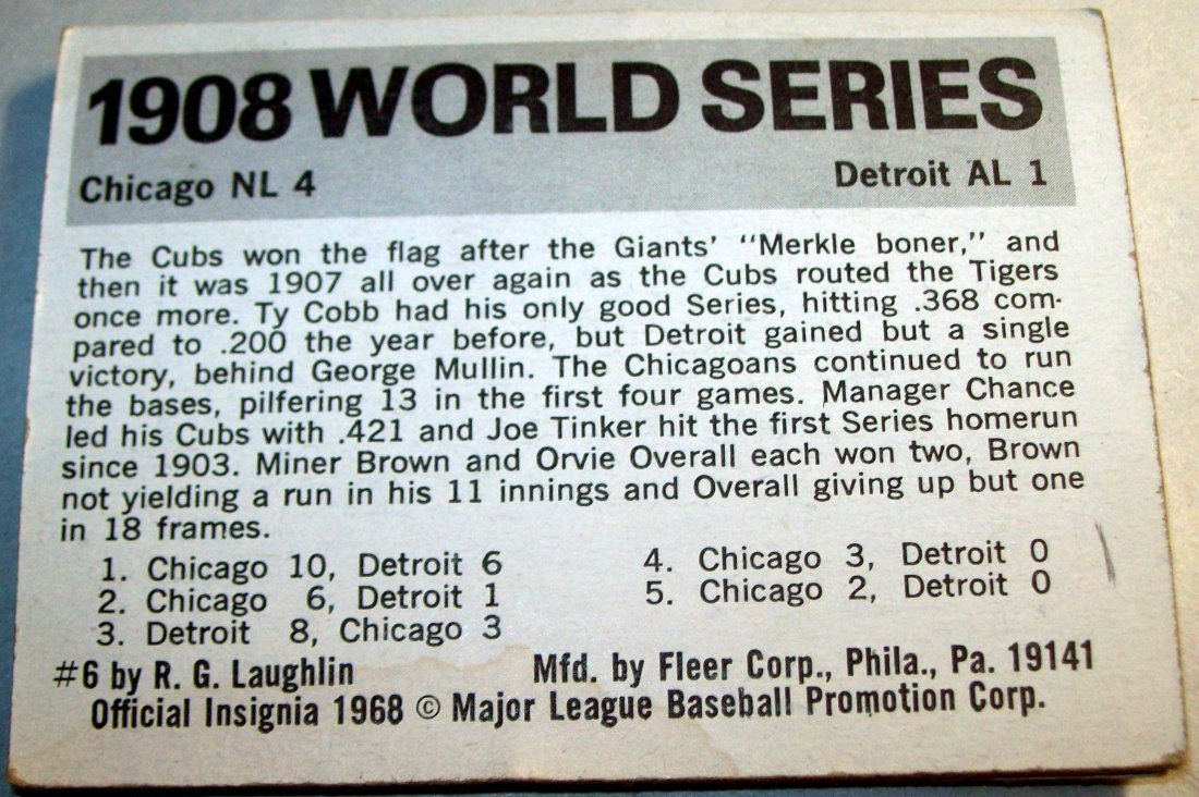 Lot of (10) 1968 Fleer World Series Baseball Cards - 4