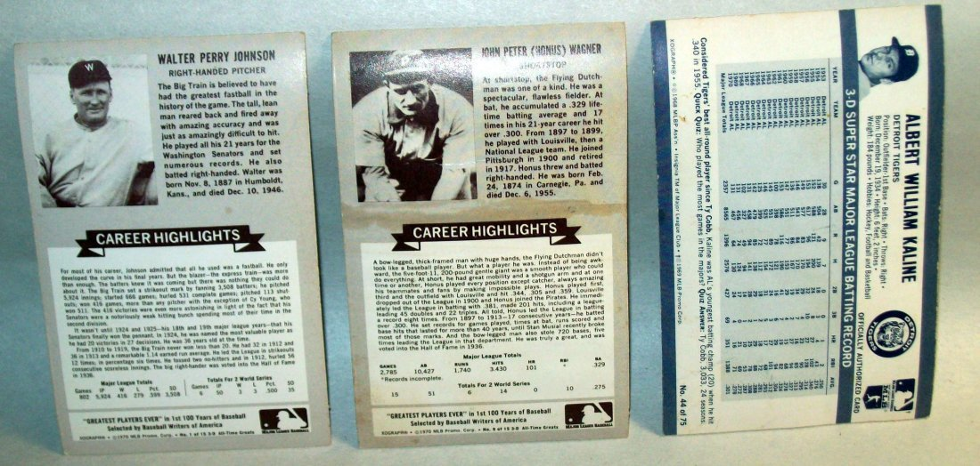 Lot of (3) 1972 Kellogg's Xograph 3-D Baseball Card - 2
