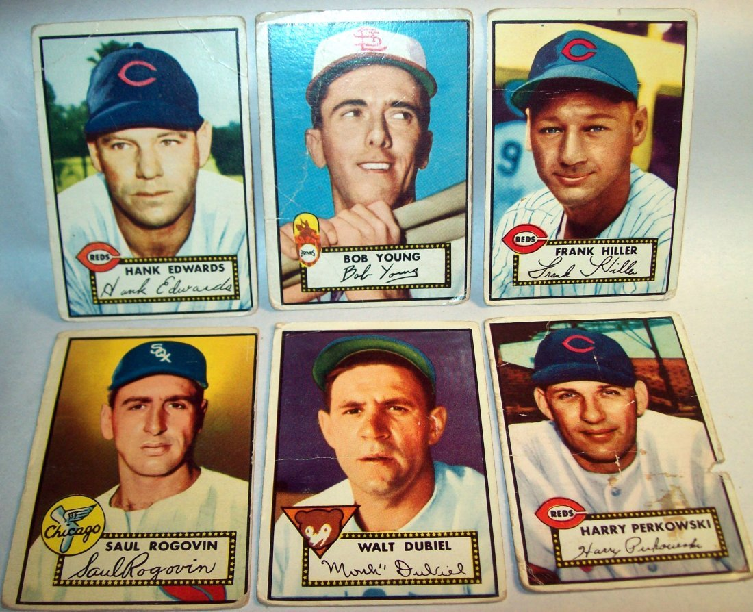 Lot of (6) 1952 Topps Baseball Cards