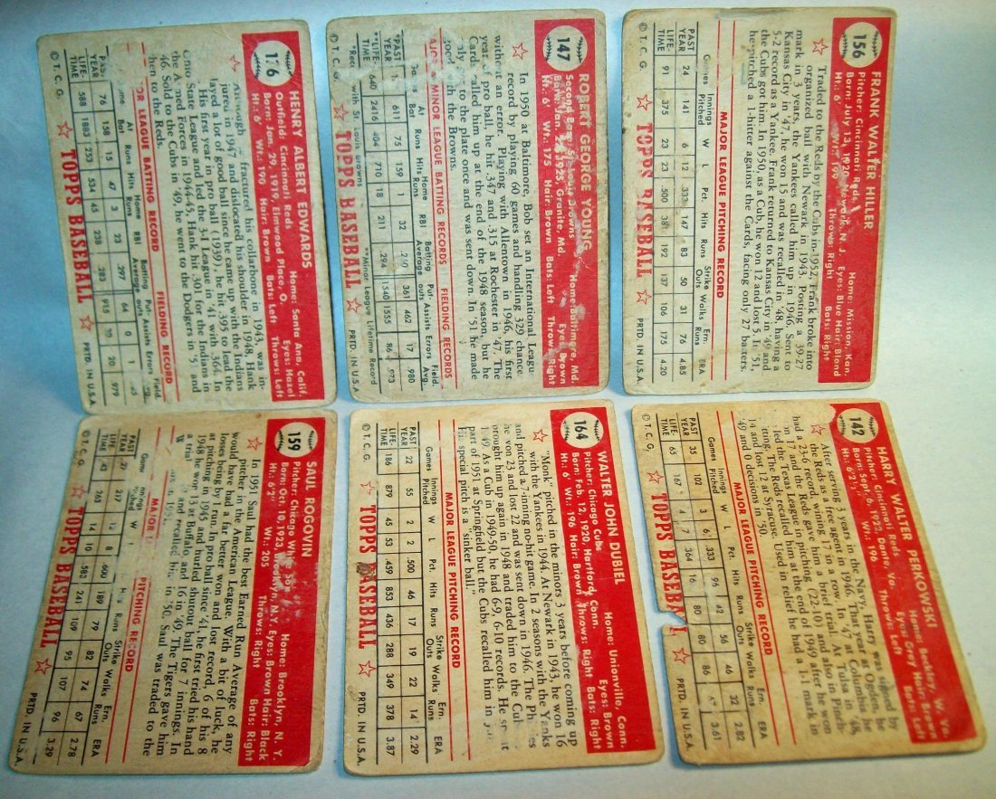 Lot of (6) 1952 Topps Baseball Cards - 2