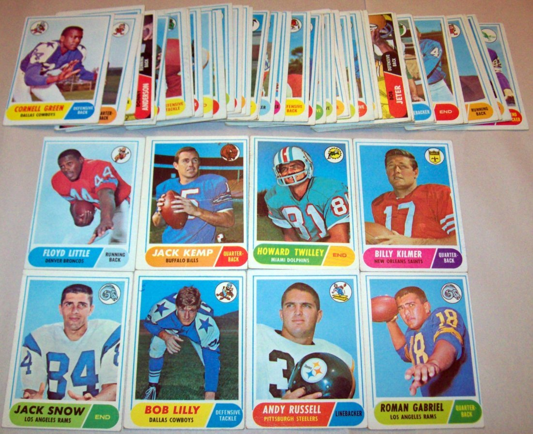 Lot of (60) 1968 Topps Football Cards