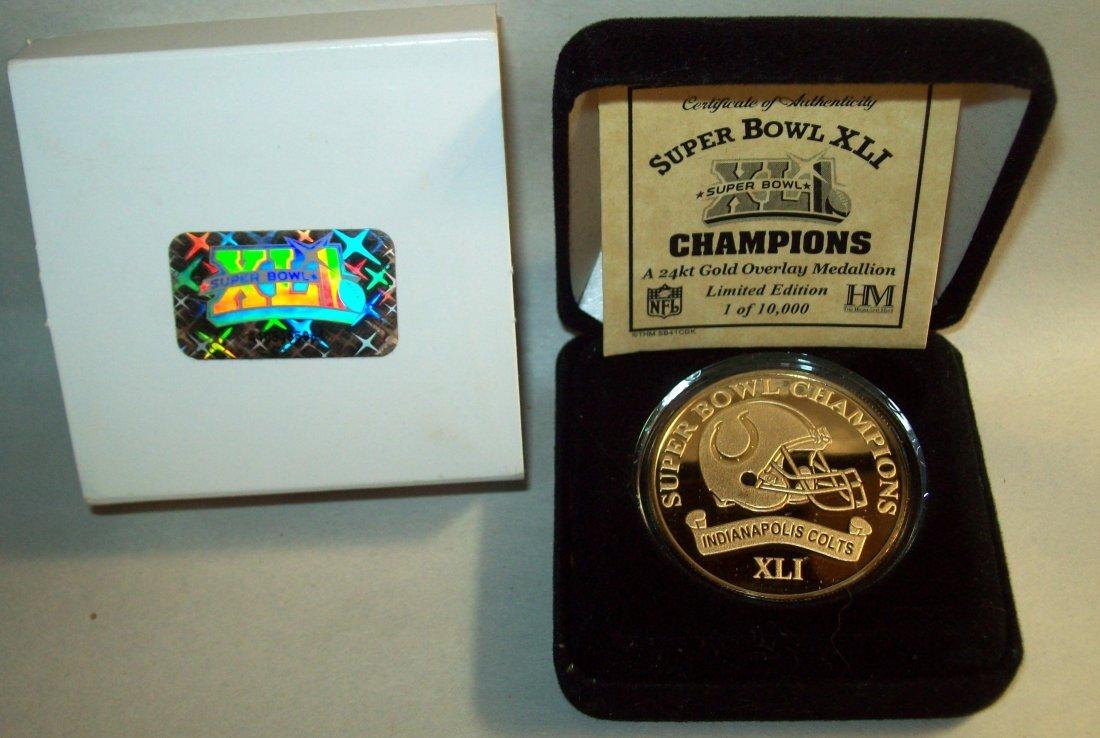 Indianapolis Colts Super Bowl XLI 24k Gold Medallion