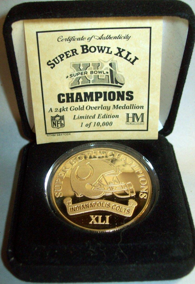 Indianapolis Colts Super Bowl XLI 24k Gold Medallion - 2