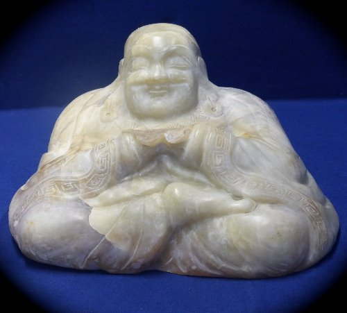 Chinese Antique Celadon Jade Figure of a Seated Buddha,