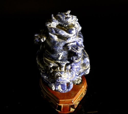 Chinese Lapis Lazuli Censer and Cover, the finely