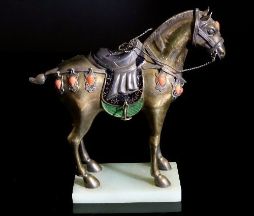 Chinese 20th Century Figure of a Horse, the silver and