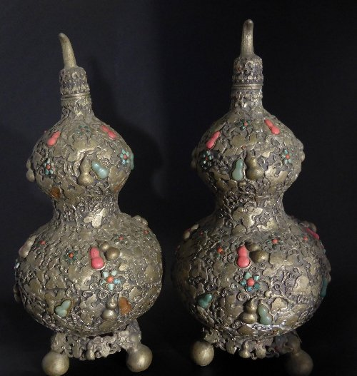 Pair of Chinese Antique Double Gourd Repoussé Lidded