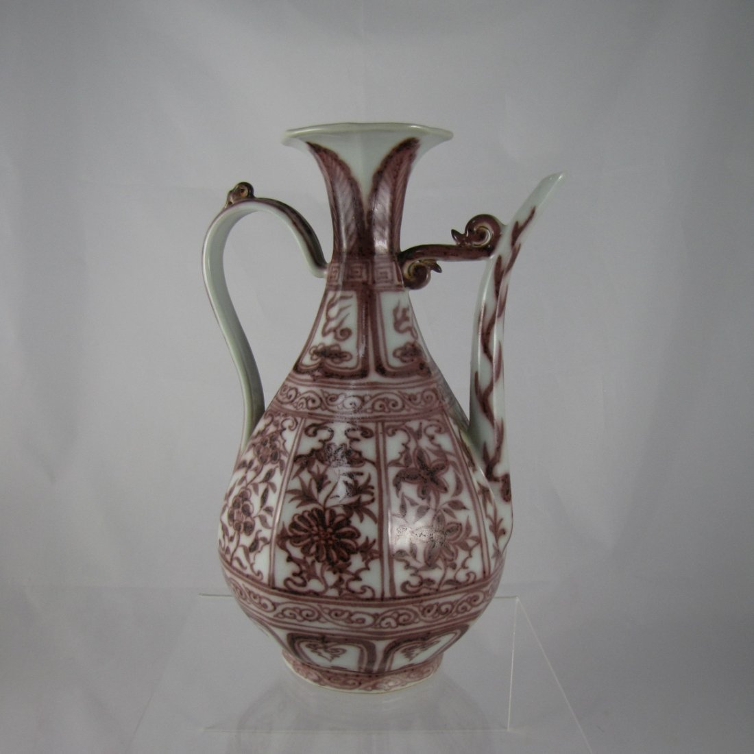 Chinese Copper Red Porcelain Ewer