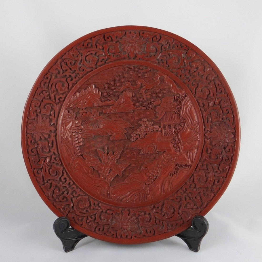 Chinese Qing Dyansty Cinnabar Charger